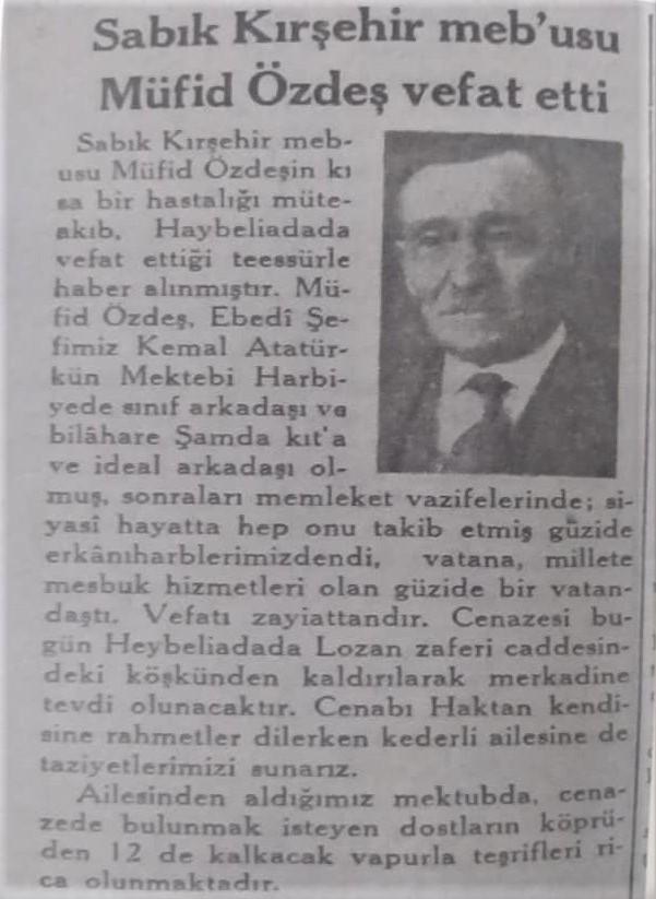20 Niasan 1940 Tarihli Cumhuriet Gazetesi'nde yayınlananölüm ilanı.